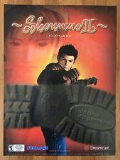 Shenmue II 2 Xbox Dreamcast 2002 Vintage Poster Ad Art Promo RYU Sega PS4 Rare
