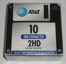 """AT&T IBM Formatted DS/HD 3.5"""" Diskettes 10 Count Floppy Disk"""
