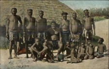 Ethnography Publ in Durban Black Men Native Costumes Zulus at Home Postcard