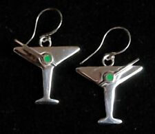 new sterling silver martini earrings with olive