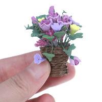 1:12 Dollhouse Miniature Clay Flowers in Rattan Pot Furniture Accesso^FSAUJCAU