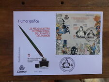 SPAIN 2018 25thANNIV EXPO ARTS & HUMOR MINI SHEET  FDC FIRST DAY COVER
