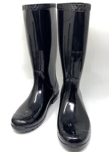 UGG Shaye Rain Boots Woman Black 1012350 100% Authentic Rubber Sz 6 M Pull On
