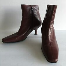 "Etienne Aigner ""Katey"" Women's Wine Leather Pointy Toe Zip Ankle Boots Size 7.5M"