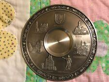 """Zinn Becker Pewter Augsburg 95% Zinn Gegossen Wall Hanging Plate 9"""" Vintage 3-D"""