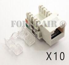 10 Pack Lot - CAT5e RJ45 110 Punch Down Keystone Modular Snap-In Jacks - White