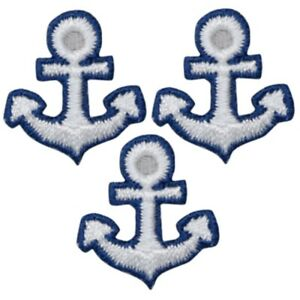 """Anchor Applique Patch - Nautical Shield Badge 7/8"""" (3-Pack, Iron on)"""