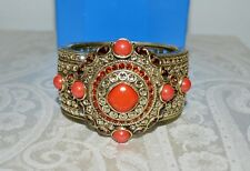 Hinge Cuff Bracelet Coral Red M Nib $200 Heidi Daus Exotic Artistry Double