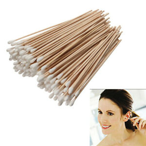 Pack of 100 Wood Stick Cotton Swabs Buds Cleaning Tool Medical Kit 15cm Long