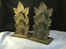 Victorian Antique Pair Of Brass Leaf Maple Leaves Letter Paper Rack Stand Holder