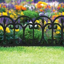 6 X Victorian Iron Effect Plastic Garden Flower Bed Lawn Edging Fence Border Pan