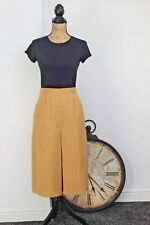 Vintage Pure New Wool Yellow Box Pleat Midi  A-line Skirt Skorts Small W28 8 10