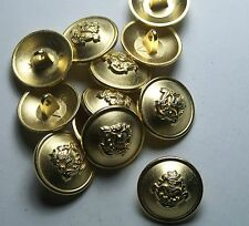 Pack of 8 17mm Crowned Knights head Gold Metal Military style Button   2017