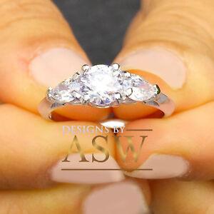 14K WHITE GOLD ROUND SIMULATED DIAMOND ENGAGEMENT RING BRIDAL HALO PRONG 1.50CTW