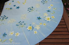 """TABLECLOTH CO 60"""" wild flowers blue wipe clean wipeable oilcloth vinyl  ROUND"""