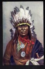 INDIEN Raphael TUCK  chef indien IRON OWL coiffe plumes