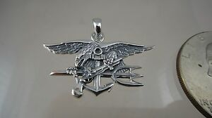 US NAVY License UDT SEAL PENDANT HAND MADE  . 925 SOLID STERLING NEW LARGER!