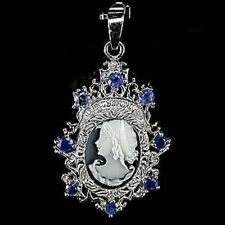 Sterling Silver 925 Elegant Cameo & Genuine Natural Sapphire Pendant / Brooch