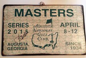 Jordan Spieth signed 2015 Masters golf badge rare big wood ticket psa dna loa