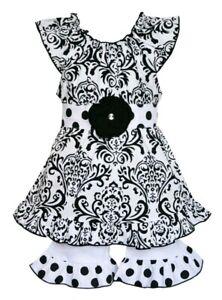 AnnLoren Little Girl's Black & White Damask Dress & Short Set-Size-6