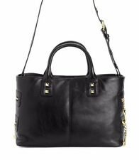 JUICY COUTURE BLACK HOLLYWOOD HIDEAWAY LEATHER SATCHEL. NWT  RETAILS $398