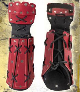 Medieval PU Arm Wrist Wide Cuffs Bracers Warrior Gauntlet Bandage Glove COS Prop