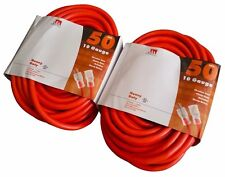 2-Pack 50 Ft 10 Gauge Extension Cord Heavy Duty Grounded Lit End UL 10/3