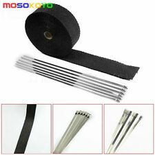 2'' 10m Universal Fiberglass Header Exhaust Pipe Turbo Heat Wrap + 6 Ties Kit