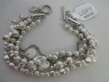 Ann Taylor LOFT Pearlized Layer Delicate Charm Bracelet NWT $29.50