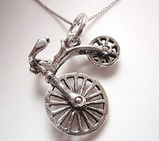 Old Fashioned Bicycle 925 Sterling Silver Necklace Corona Sun Jewelry bike rider