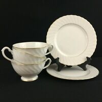 VTG Set of 3 Cups and 2 Bread Plates Harmony House Regency Swirl Edge Gold Japan