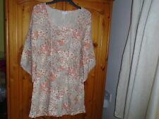 Stone, cream and peach pattern tunic dress, designer KAFFE (KAFFE FASSET) 10 NEW