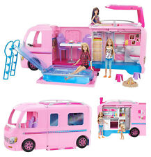Brand New Mattel Barbie Dream Camper Pink RV Bus Home Van Motor Car Truck Set