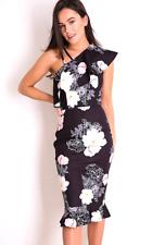 Black One Shoulder Floral Dress 8 10 12 14
