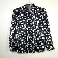 Chico's Size 2 Womens Blouse Top Button Front Long Sleeve