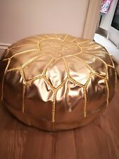 Handmade Faux  leather Moroccan Gold pouffe - unstuffed