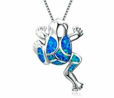 Beautiful Blue Fire Opal 925 Sterling Silver Frog Necklace Silver Chain 40cm