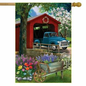 Bridge in Blooms Spring House Flag Floral Pickup Truck 29.5 x 39.5 inch