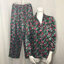 Mary Engelbreit 2 Piece Satin Pajama Set M Floral Roses Mistletoe Christmas