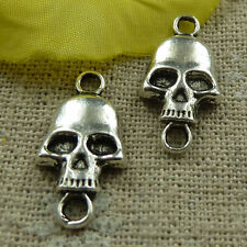 free ship 160 pieces tibetan silver skull connector 22x11mm #3798