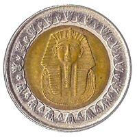 1 POUND (BIMETAL) COIN FROM ARAB REPUBLIC OF EGYPT. ANCIENT PHARAOH TUTANKHAMUN