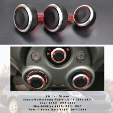 3* Heater Climate Control Switch Knob For Nissan Cube Versa Note E12 Micra