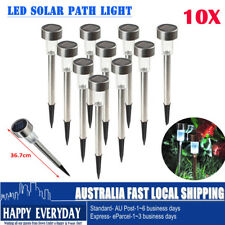 10 X Stainless Steel LED Solar Garden Landscape Path Lawn Lights Yard Lamp