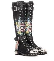 Ladies Womens Knee High Boots Lace Up Floral Embroidery Punk Motor Buckle Shoes