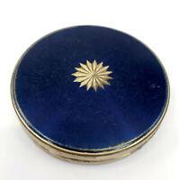 Margaret Rose UK Pressed Powder Compact Blue Lacquer 1950s Brass Starburst Vtg
