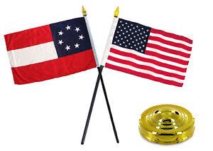 "Stars and Bars & USA American America Flag 4""x6"" Desk Set Gold Base"