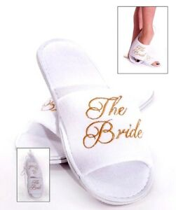 BRIDE TO BE * TEAM BRIDE Spa Slippers GOLD Embroidery Hen Party