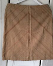Ladies Next Skirt Linen Tan Brown  A-Line Diagonal Stitched Size12Petite NEW
