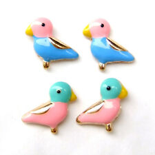 2 Pairs Birds Pink Green Blue Enamel Tiny Mini Lovely Sweet Lolita Earrings Gift