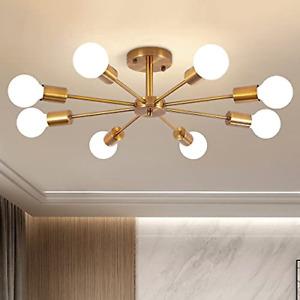 8-Lights Modern Chandelier Brass Gold, Semi Flush Mount Ceiling Light Industrial